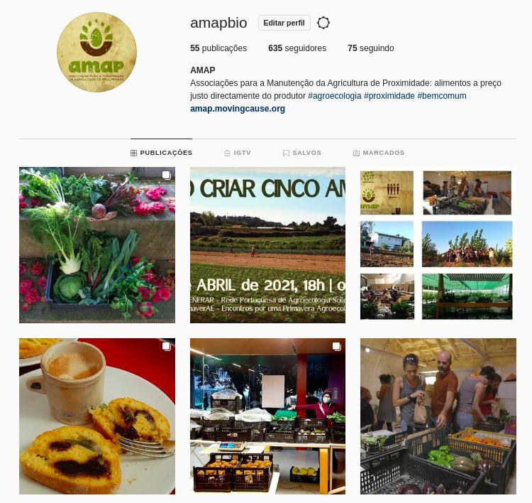 Captura de ecrã do Instagram da AMAP (Março de 2021)